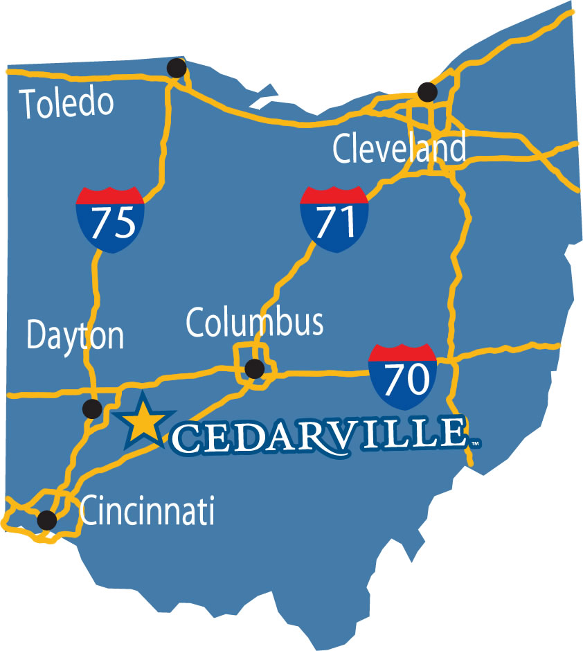 Frequently Asked Questions Cedarville University - Map of cedarville ohio us