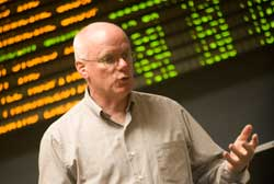 Cedarville University Business Professor Teaching in KeyBank Trading Room