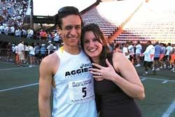 PHOTO: Sergio Reyes of Palmdale, Calif., won yesterday's race then proposed to his girlfriend, Aimee Scott, who said yes.