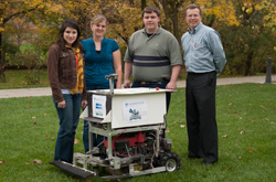 Engineering students developed a lawn mowing robot.
