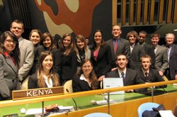 The Model U.N. team won a second place Distinguished Delegation award at the 2012 National Model U.N. Conference in New York City.