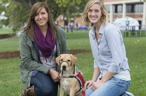 Students and service dog