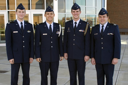 Devin Ferguson, Josiah Franklin, Riley Snowden and Starner Vechery were selected for United States Air Force pilot training after meeting a very competitive selection criteria. Photo credit: Scott L. Huck/Cedarville University