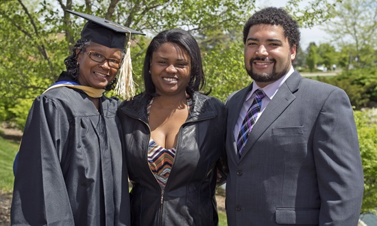 Florence Randolph celebrates her commencement with daugher Tasha Goodwin-Randolph and grandson Kyle Bristol. Photo credit: Scott L. Huck/Cedarville University
