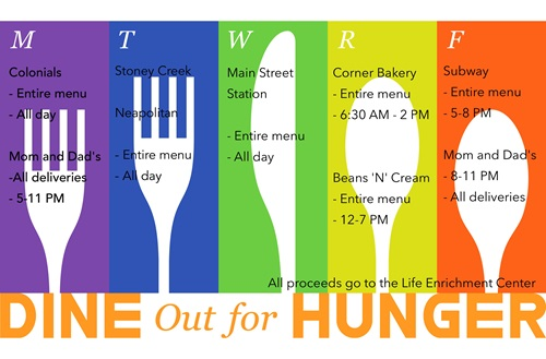 The social work department is sponsoring a week-long Dine Out for Hunger event for the sixth year. Artwork courtesy of the social work department.