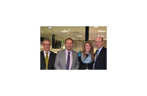 Elena Goodale, industrial and innovative design student, interned at Mercedes-Benz of Australia during the summer. She is pictured here with Ruediger Schrage, CFO for Mercedes-Benz Australia; Juergen Sauer, President and CEO for Mercedes-Benz Australia; and Peter Grogan, Director of HR for Mercedes-Benz Australia. Photo courtesy of Jess Fisher.