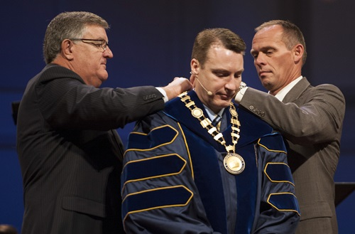 Cedarville University's 10th president, Dr. Thomas White, received the presidental medallion as part of the inauguration ceremony on October 4. Photo credit: Scott L. Huck/Cedarville University