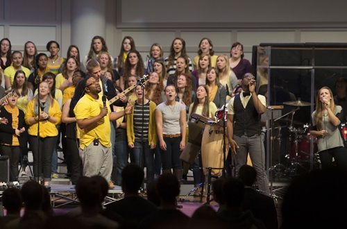OneVoice Gospel Choir has released its third full-length CD project, Victory in Worship. Photo credit: Scott L. Huck/Cedarville University