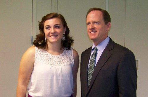 Senior political science student Natalie Tarnovisiki, pictured with Pennsylvania senator Pat Toomey, was one of several Cedarville students who completed political internships last summer. Photo courtesy of Natalie Tarnovisiki