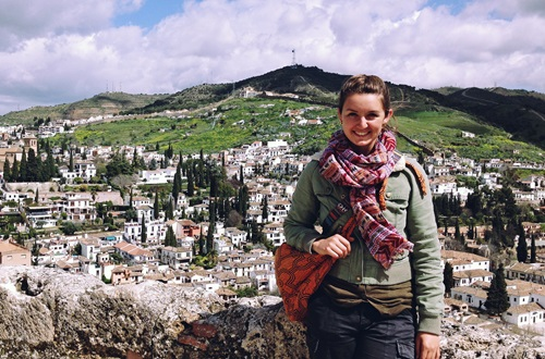 The new scholarship will help students like Alexandra Iriana spend a semester or year studying abroad. Iriana is pictured above in Alhambra overlooking the city of Granada, Spain. Photo courtesy of Alexandra Iriana.