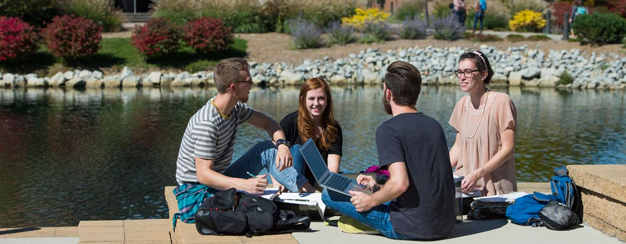 students study on BTS patio