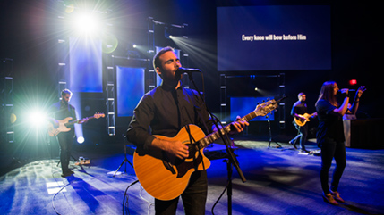 Students perform a worship set during Cedarville University chapel service