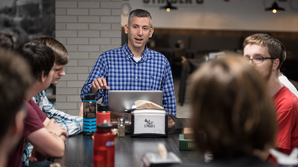 Cedarville professor Dan DeWitt meets weekly with students to talk theology and apologetics