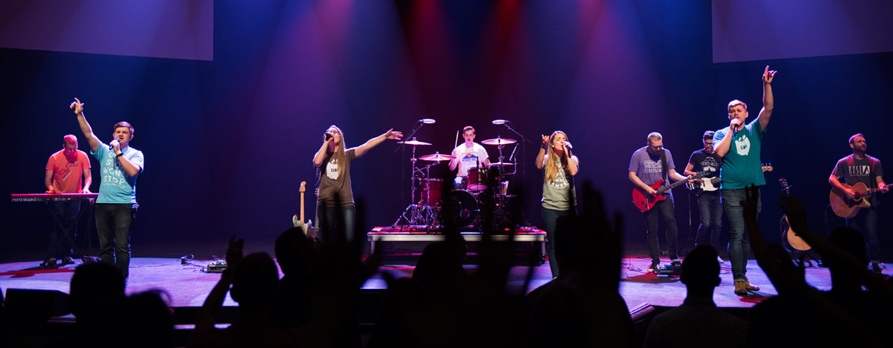 Heartsong worship band performing