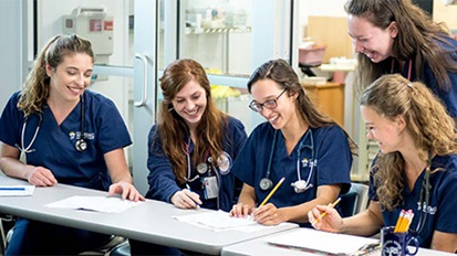 Five smiling female nursing students standing and sitting behind a classroom table.