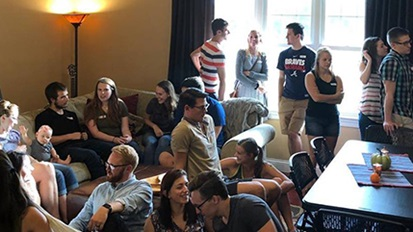 Young Cedarville couples gathered for Tied and True ministry night.