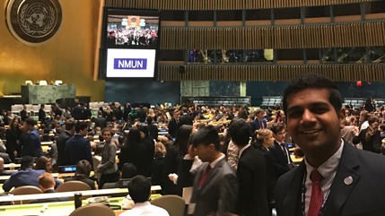 Rufus Mathew at the United Nations for Model UN Competition