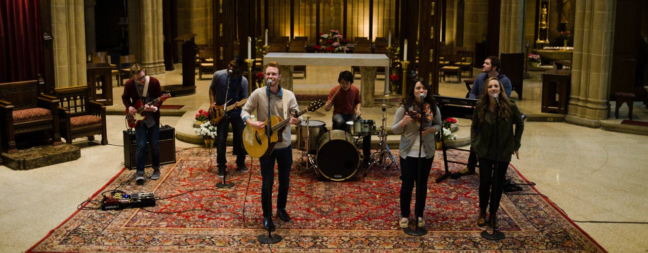 "Heartsong band performing ""A Mighty Fortress is Our God"""