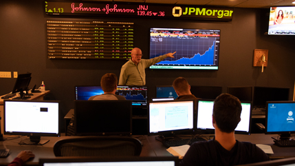 Stock market ticker room