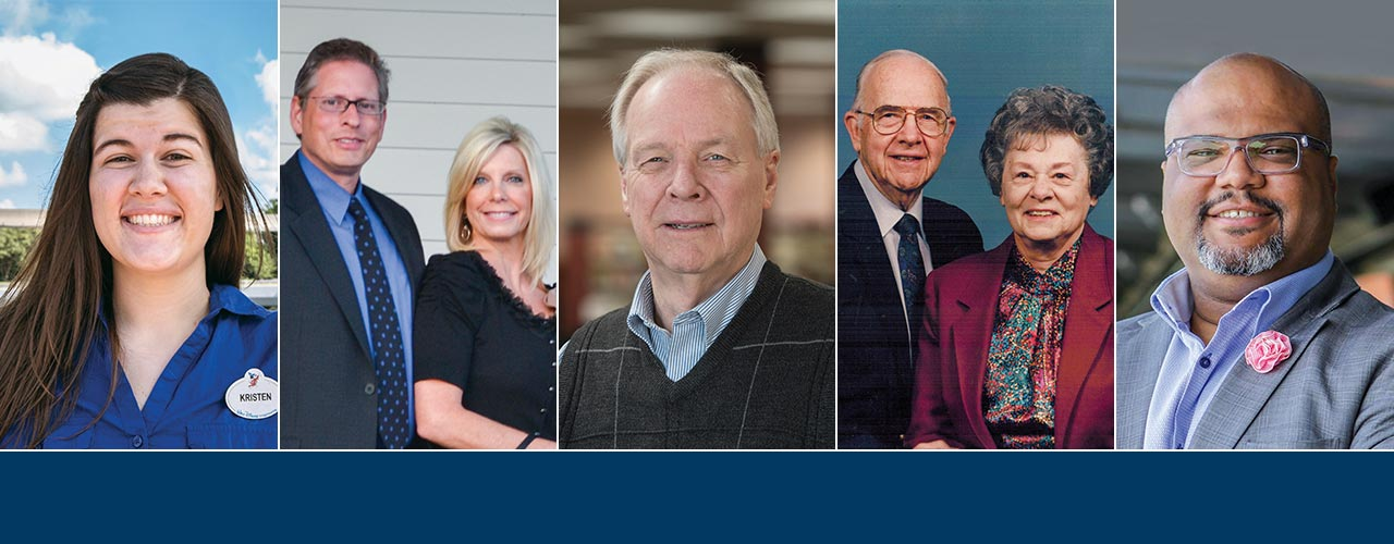 2018 Cedarville University alumni award winners Kristen Ziegler, Wesley and Dawn Polsdorfer, Lynn Brock, Roger and Charlotte Kuriger, and Tim Ware.