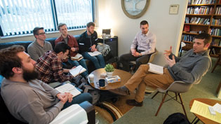 Students chaplains meeting with Jon Wood, vice president of student life & Christian ministries and Aaron Cook, director of discipleship ministries.