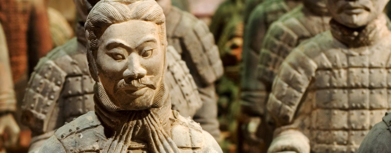 Terracotta soldiers stand at attention