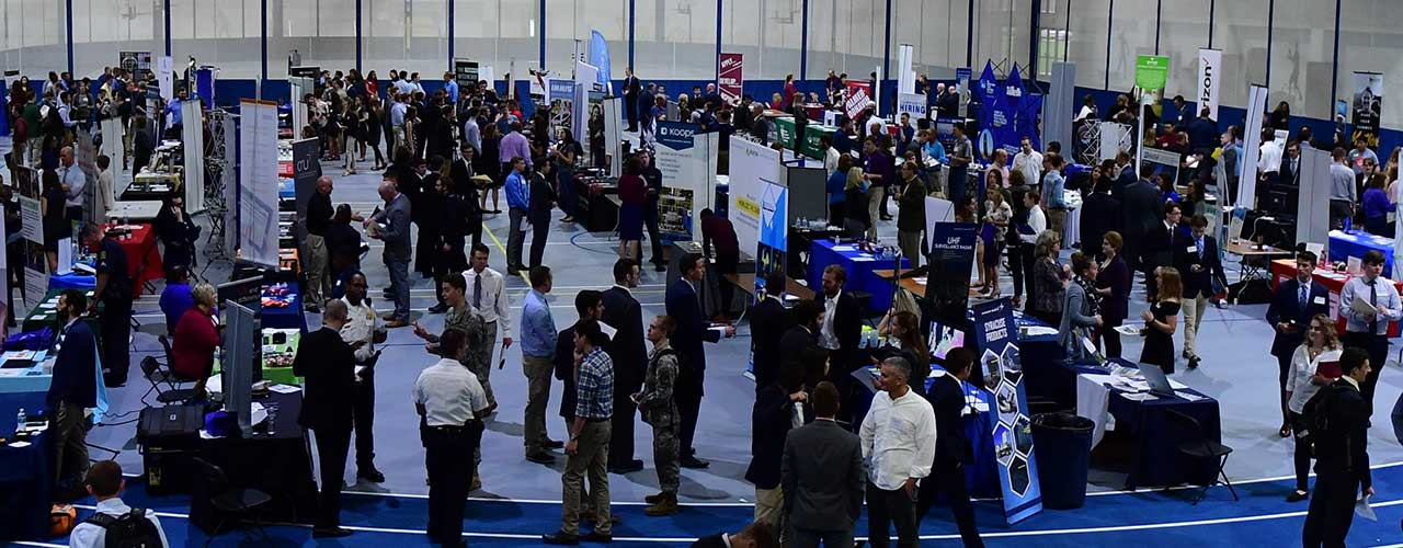 Recruiters from nearby companies talk with students during Cedarville's annual career fair
