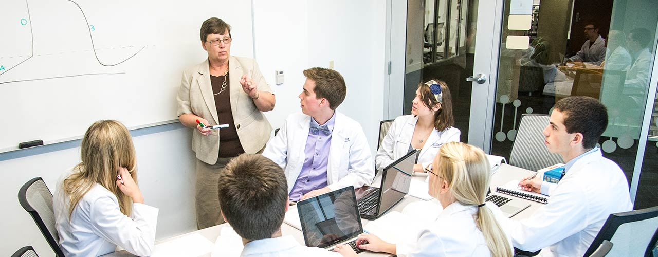Pharmacy professor teaches students in a Collaboration room