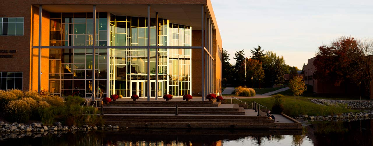 Cedarville's Center for Biblical and Theological Studies glowing in the evening light