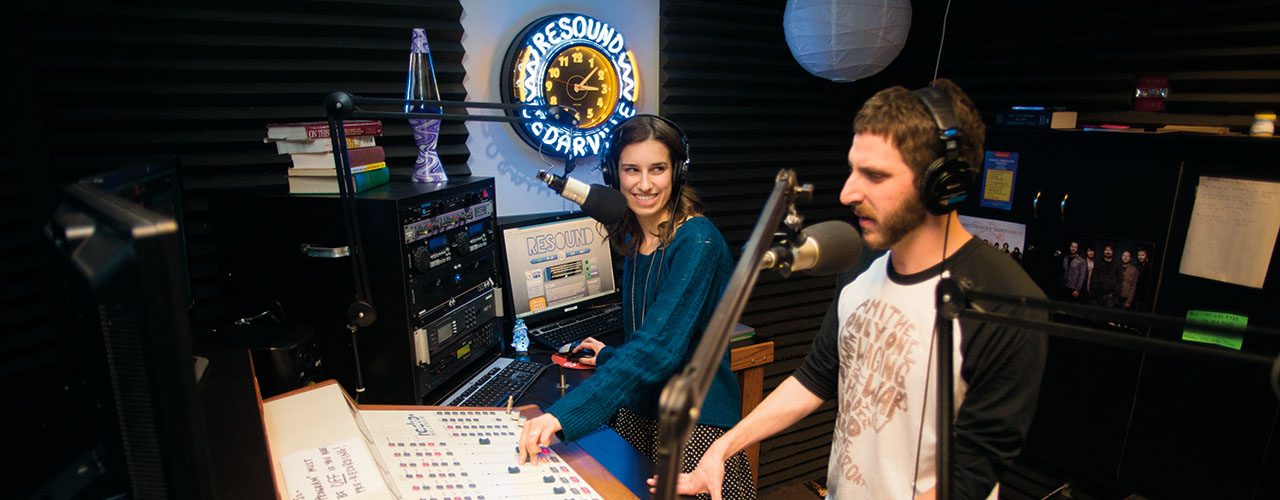 Students broadcast live from the Resound Radio studio, the on-campus radio station.