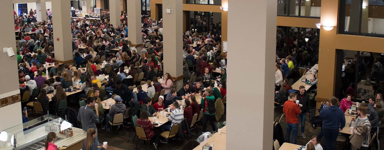 Cedarville's dining hall filled up with students