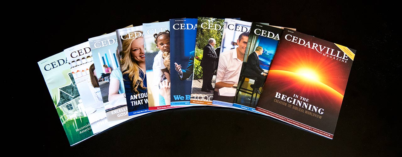 Cedarville magazines lay fanned out on a table