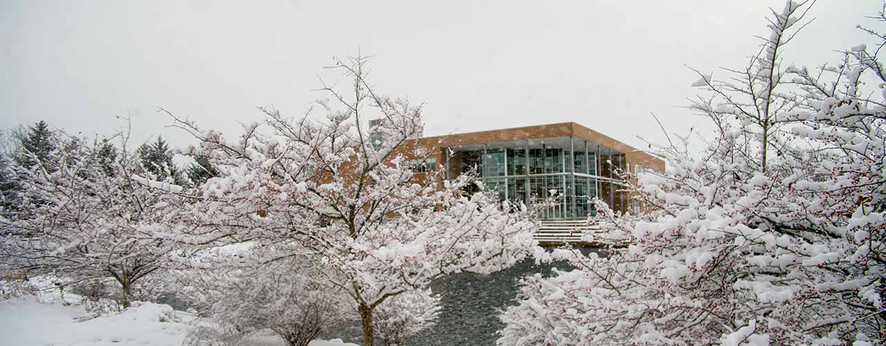 The Biblical and Theological Studies building in the snow