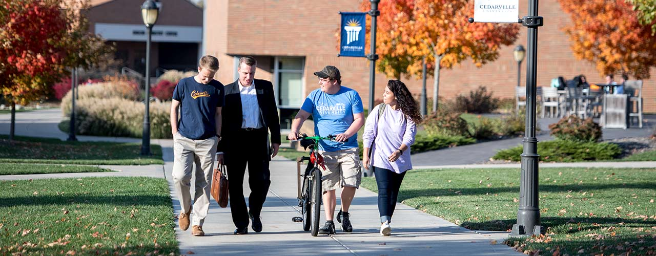 President White walks with students