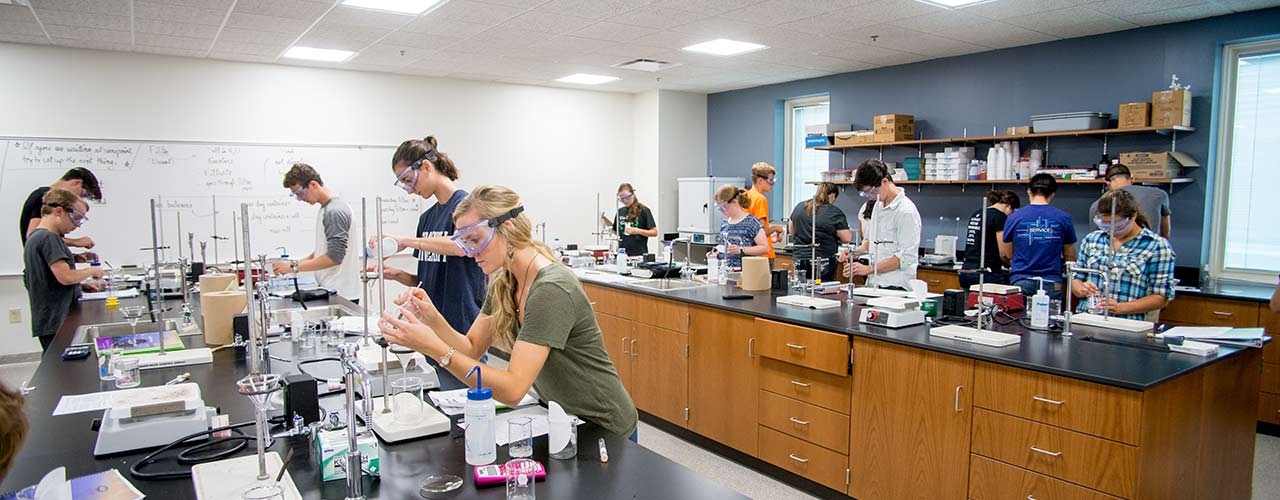 Students performing experiments in Cedarville's state of the art labs