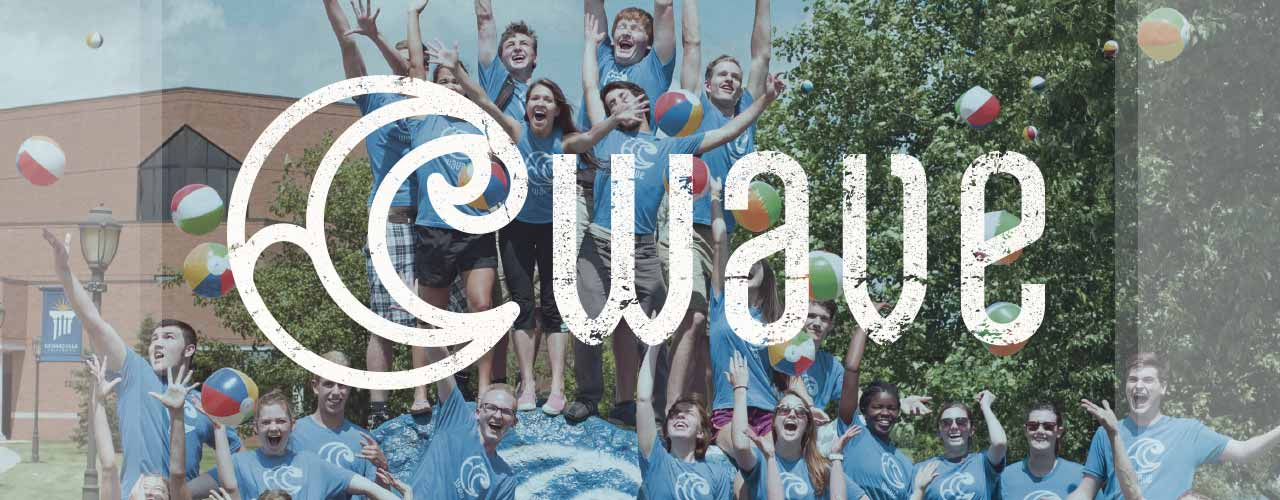 Wave Camp students around the rock at Cedarville