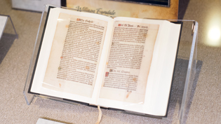 A Bible sits in Cedarville's display case