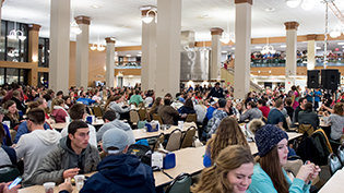 Students work in Cedarville's dining hall