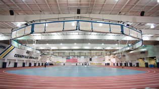 The fieldhouse with a 200 meter indoor track, and basketball volleyball and indoor soccer courts.