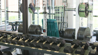 The freeweight room in Cedarville's state of the art fitness center