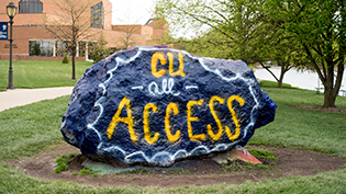 The Cedarville rock is painted to welcome All Access students