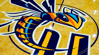 Cedarville Yellow Jacket logo is displayed on the gym floor