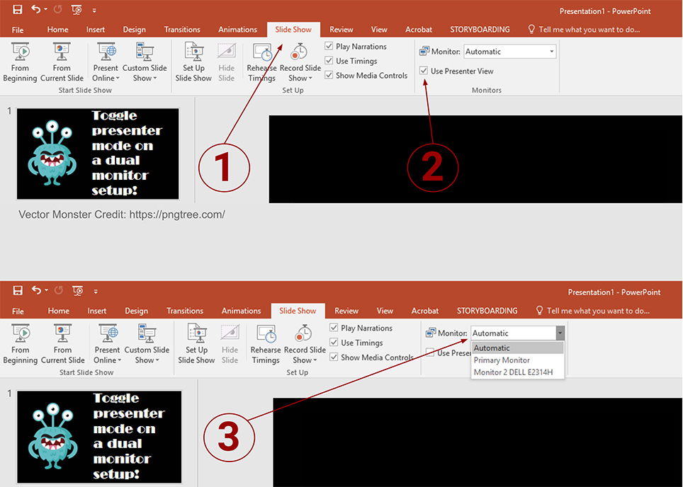 Screenshot of Powerpoint with numbers that coorelate to the instructions and text: Toggle presenter mode on a dual monitor setup!