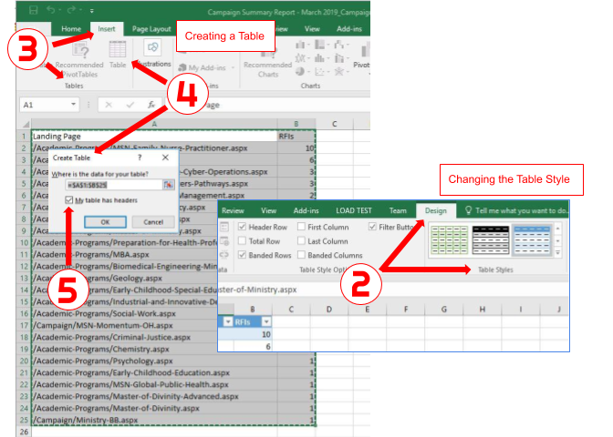 How to convert data in Excel into a table