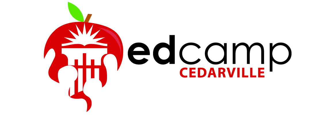Logo: cedarville columns inside an apple that turns into a flame. Text: EdCamp, Cedarville