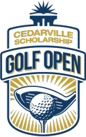 Logo Text: Cedarville Scholarship, Golf Open. Logo Illustration: blue putter hitting a golf ball surrounded by yellow beams