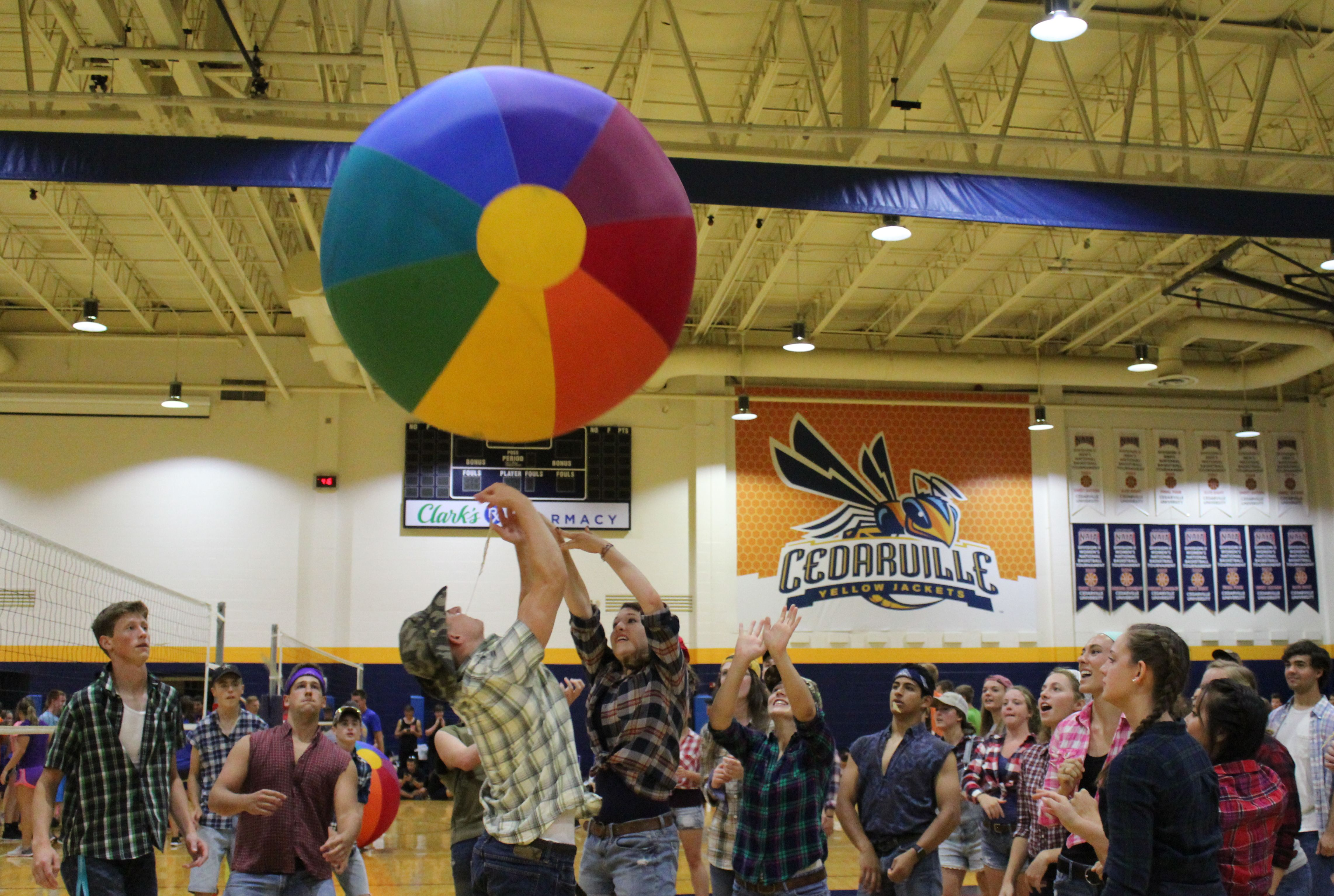 Students play Beach Ball volleyball