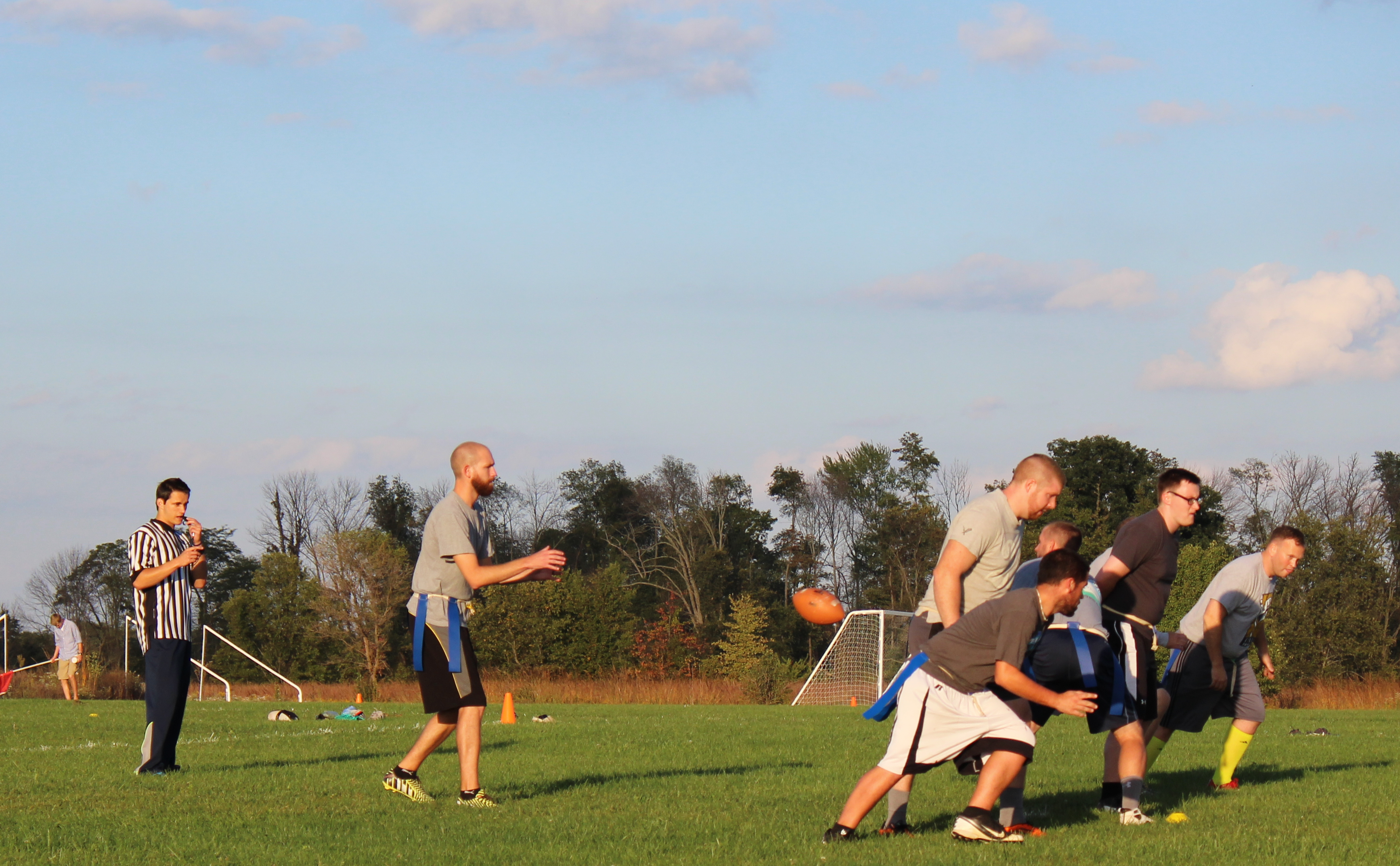 Students play a game of intramural football