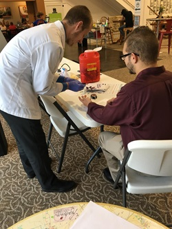Students participate in health screening event at One Bistro. Miamisburg, OH