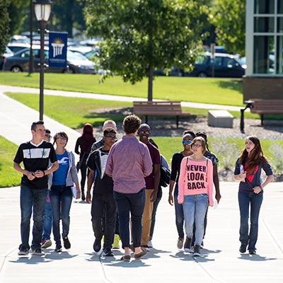 College now students touring campus